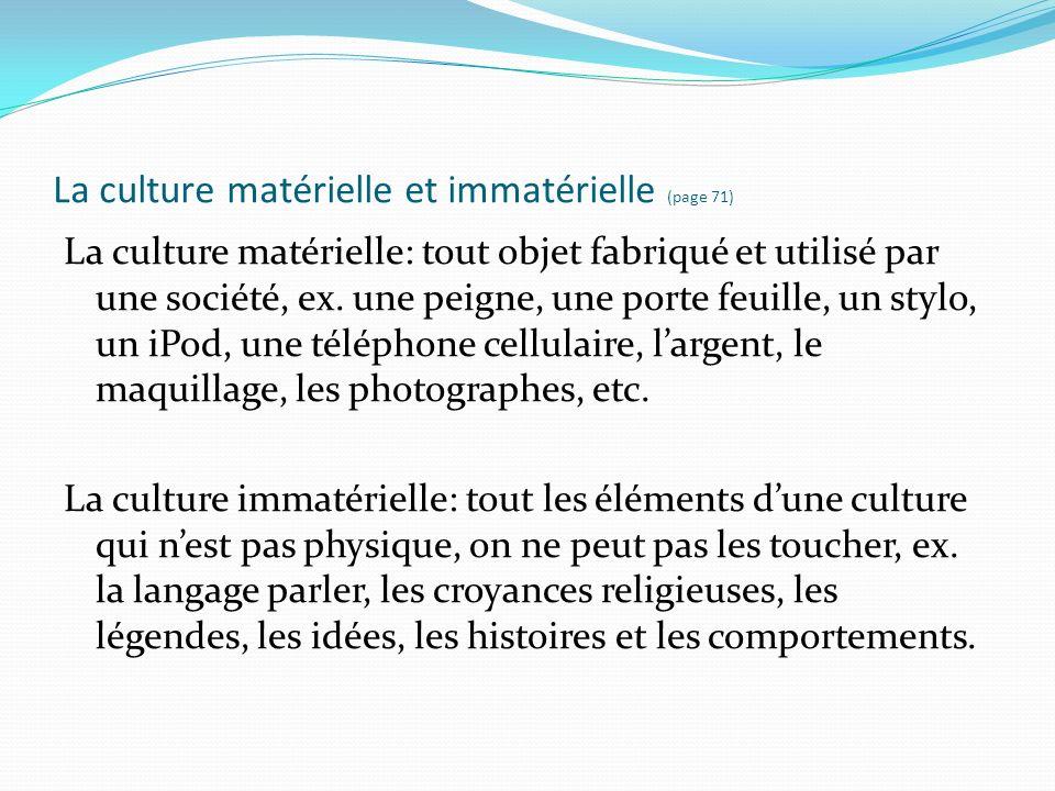 La culture matérielle et immatérielle (page 71)