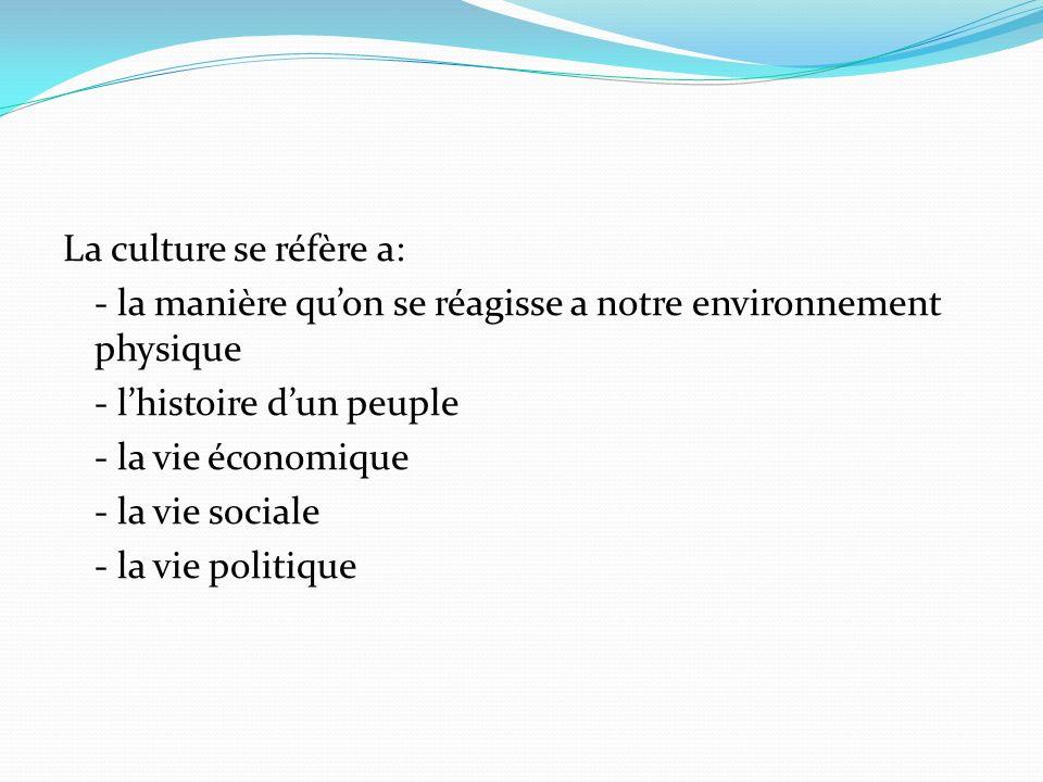 La culture se réfère a: - la manière qu'on se réagisse a notre environnement physique - l'histoire d'un peuple - la vie économique - la vie sociale - la vie politique