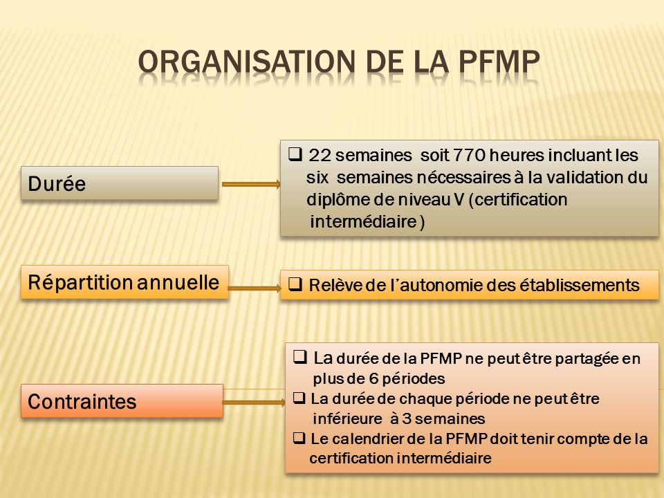 ORGANISATION DE LA PFMP