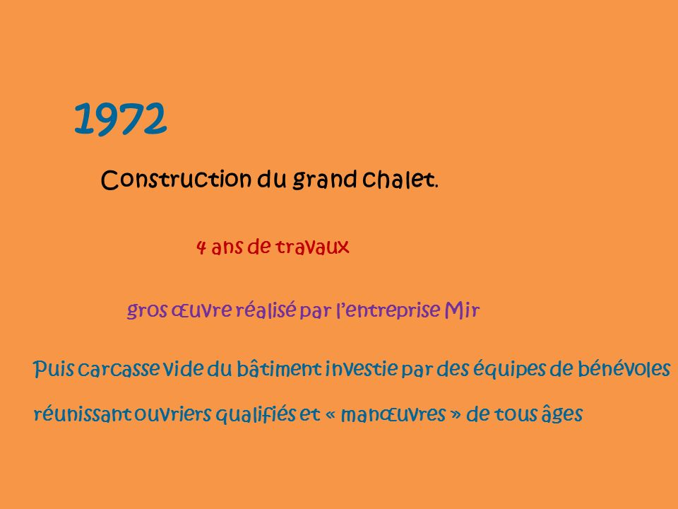 1972 Construction du grand chalet. 4 ans de travaux