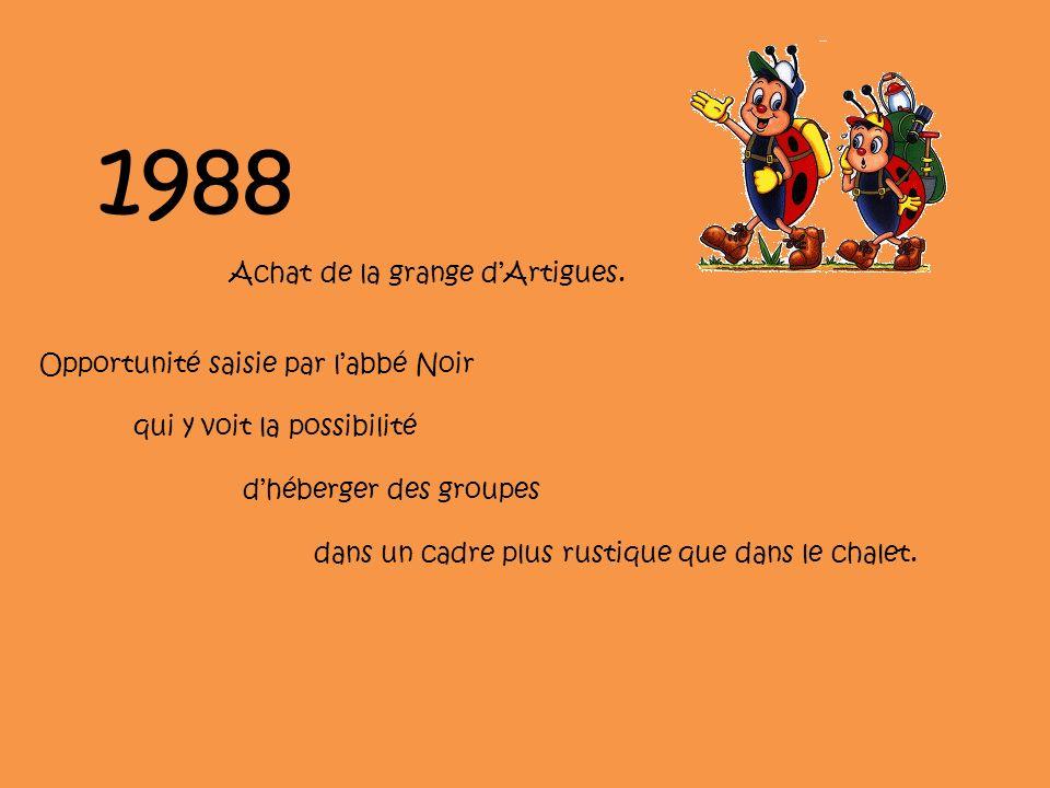 1988 Achat de la grange d'Artigues. Opportunité saisie par l'abbé Noir
