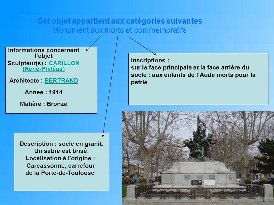 Cet objet appartient aux catégories suivantes Monument aux morts et commémoratifs