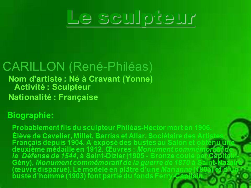 Le sculpteur CARILLON (René-Philéas)