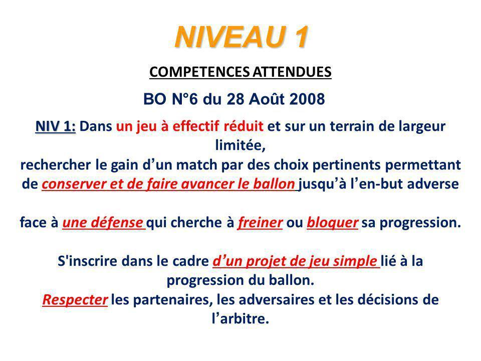 NIVEAU 1 COMPETENCES ATTENDUES BO N°6 du 28 Août 2008