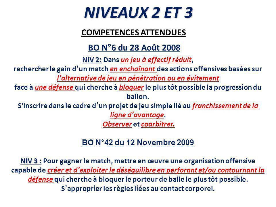 NIVEAUX 2 ET 3 COMPETENCES ATTENDUES BO N°6 du 28 Août 2008