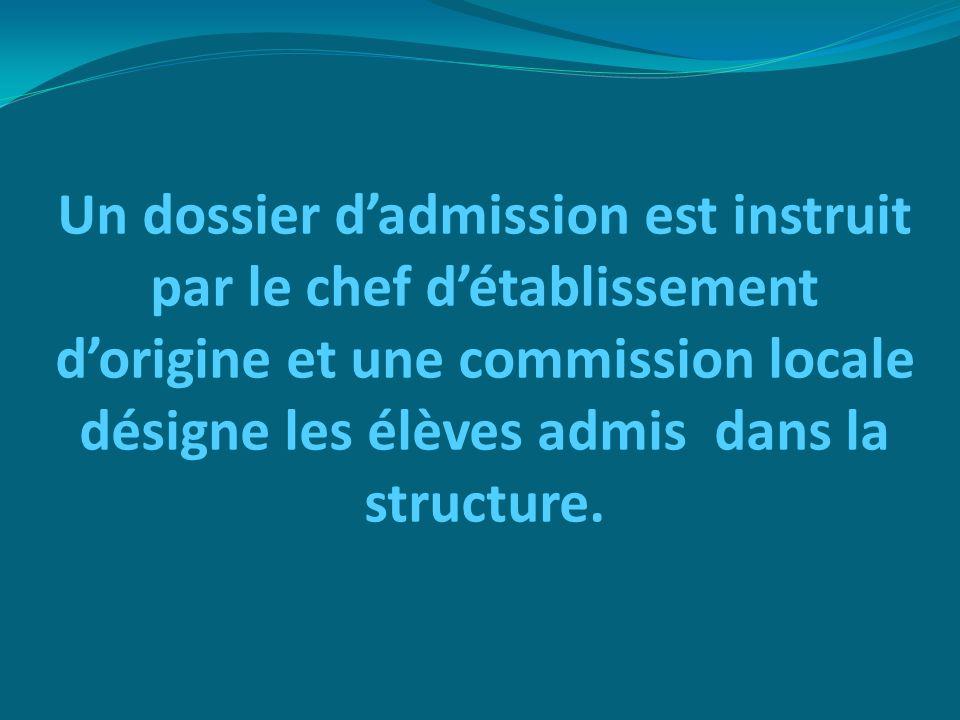 Un dossier d'admission est instruit par le chef d'établissement d'origine et une commission locale désigne les élèves admis dans la structure.