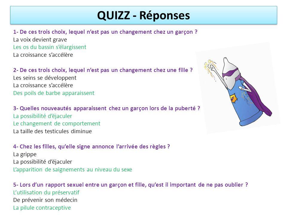 QUIZZ - Réponses 1- De ces trois choix, lequel n'est pas un changement chez un garçon La voix devient grave.