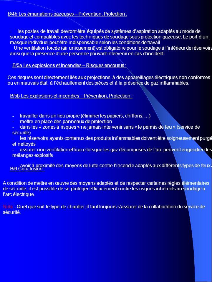 B/4b Les émanations gazeuses – Prévention, Protection :