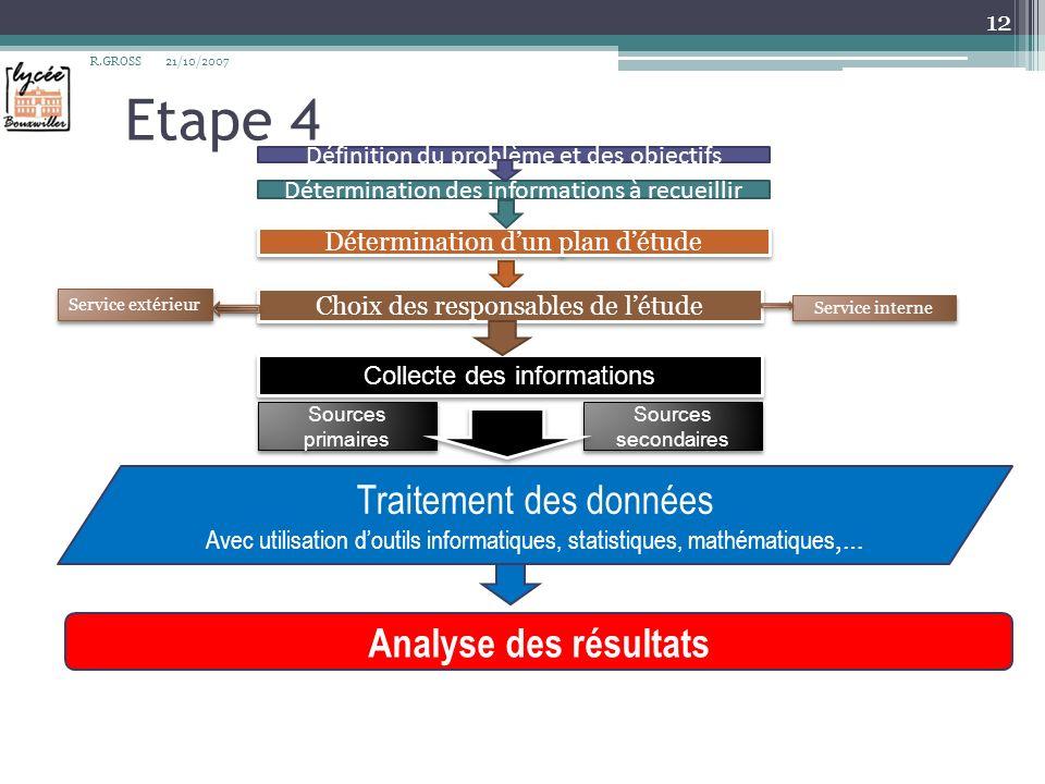 Etape 4 Traitement des données Analyse des résultats