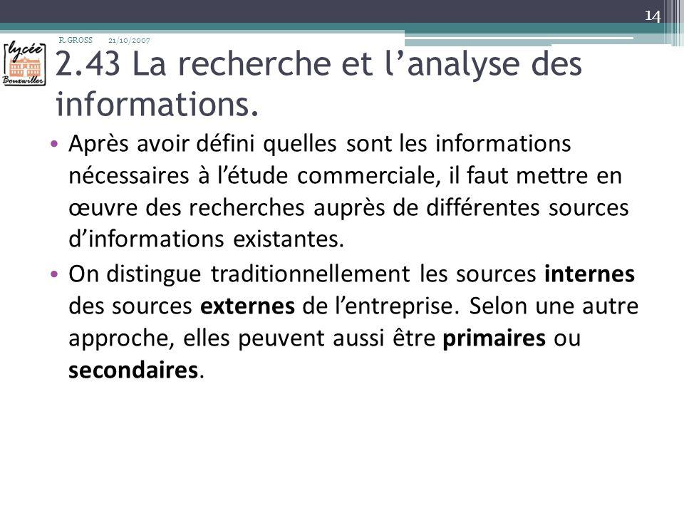 2.43 La recherche et l'analyse des informations.