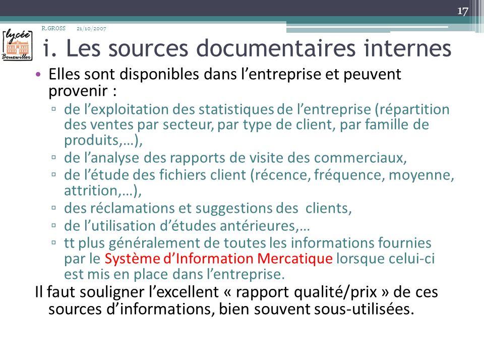 i. Les sources documentaires internes