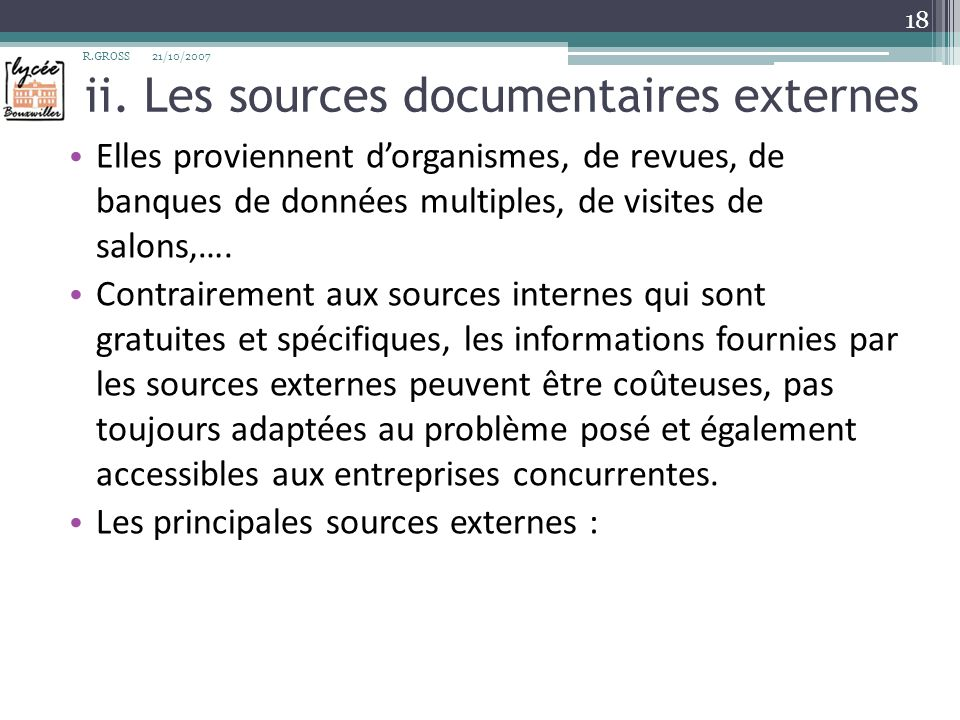 ii. Les sources documentaires externes