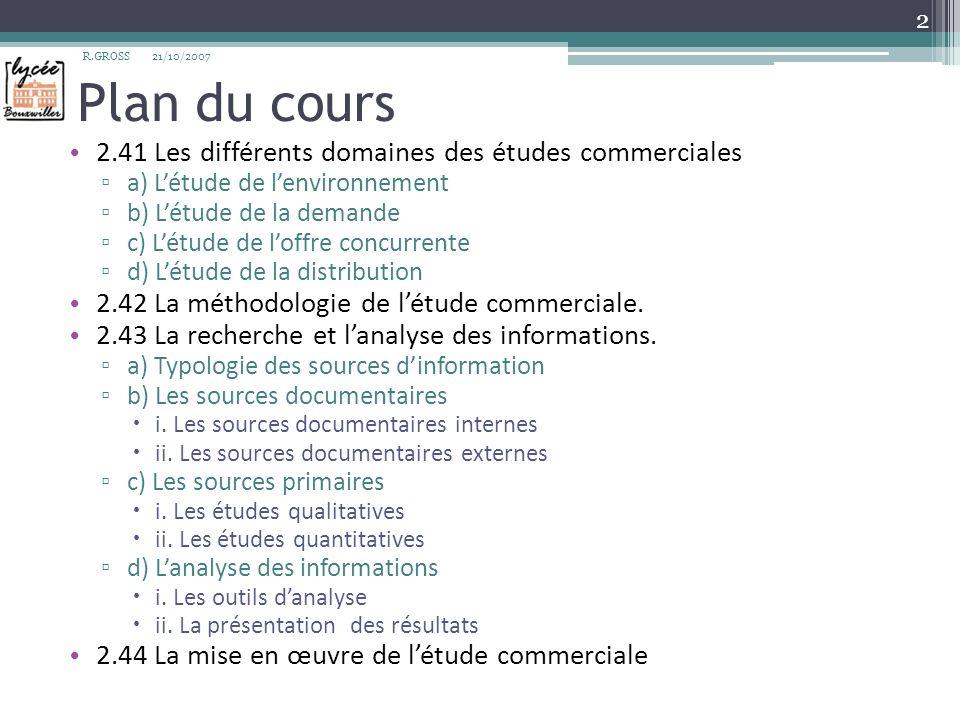 Plan du cours 2.41 Les différents domaines des études commerciales