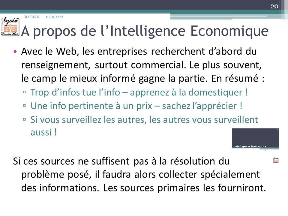 A propos de l'Intelligence Economique