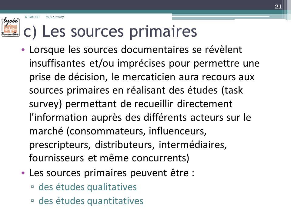 c) Les sources primaires