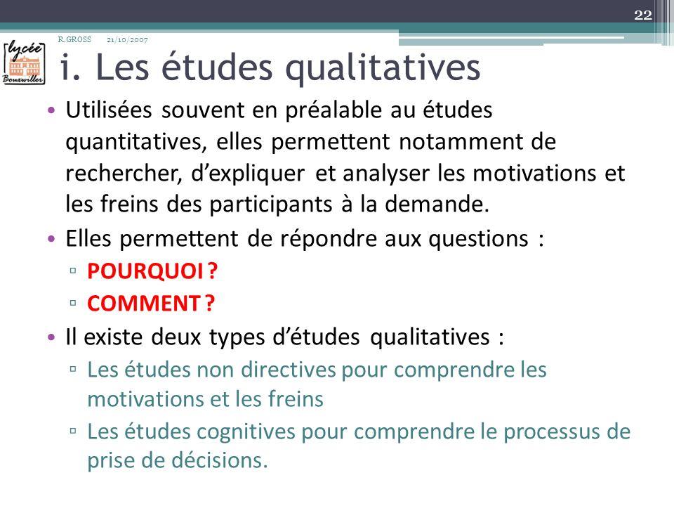 i. Les études qualitatives