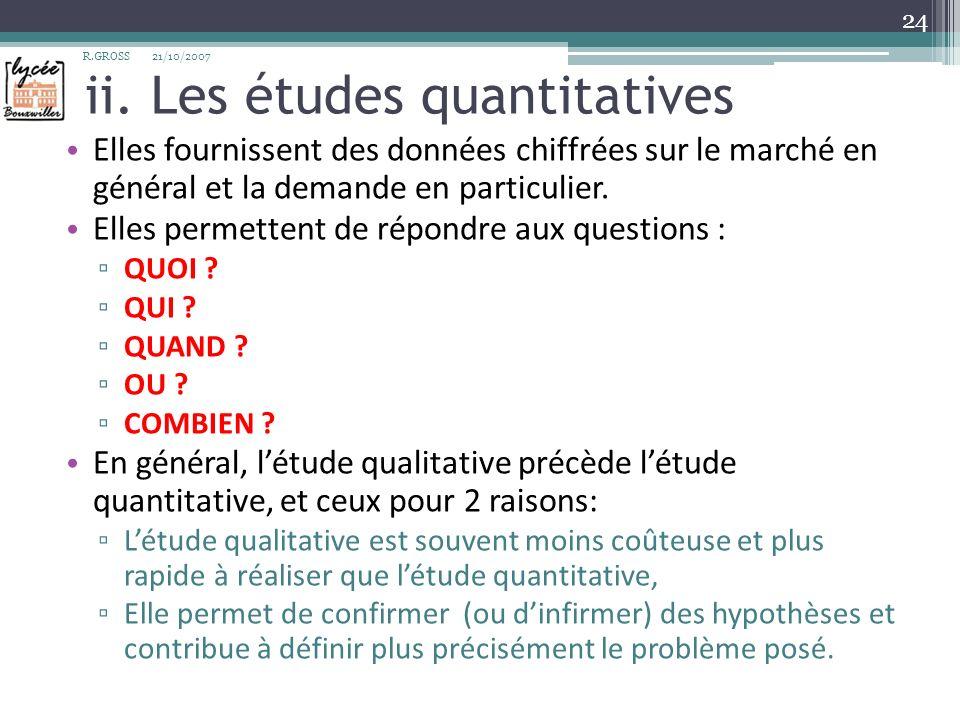 ii. Les études quantitatives