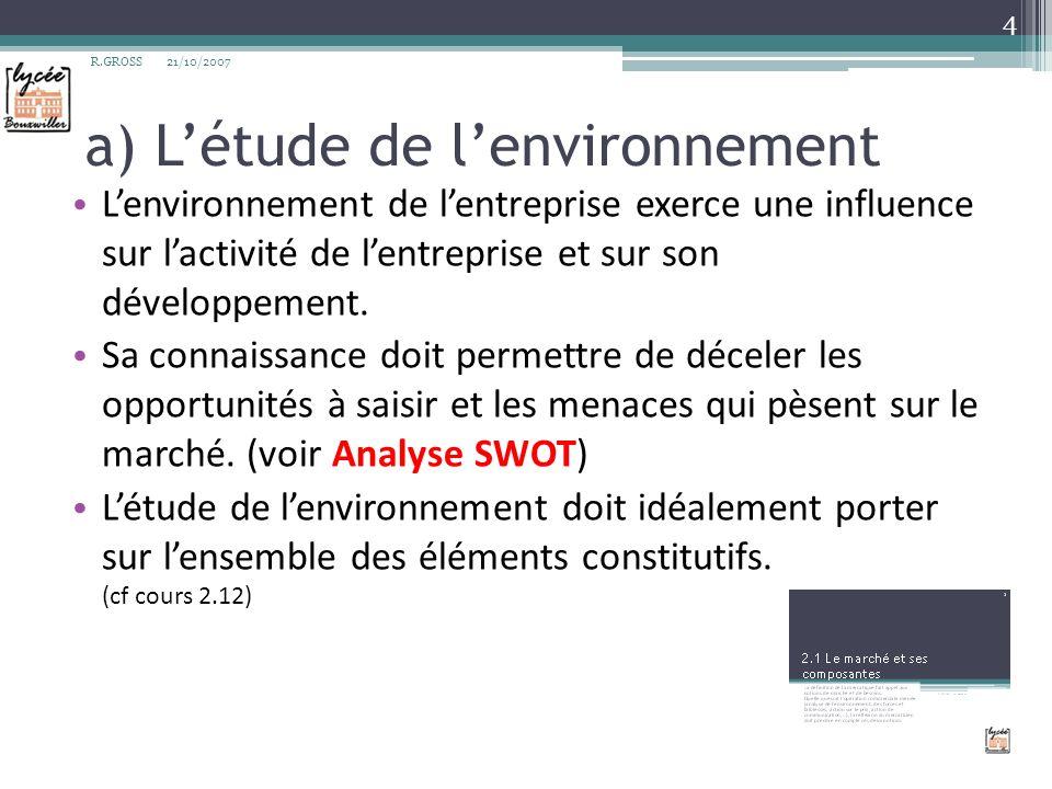 a) L'étude de l'environnement
