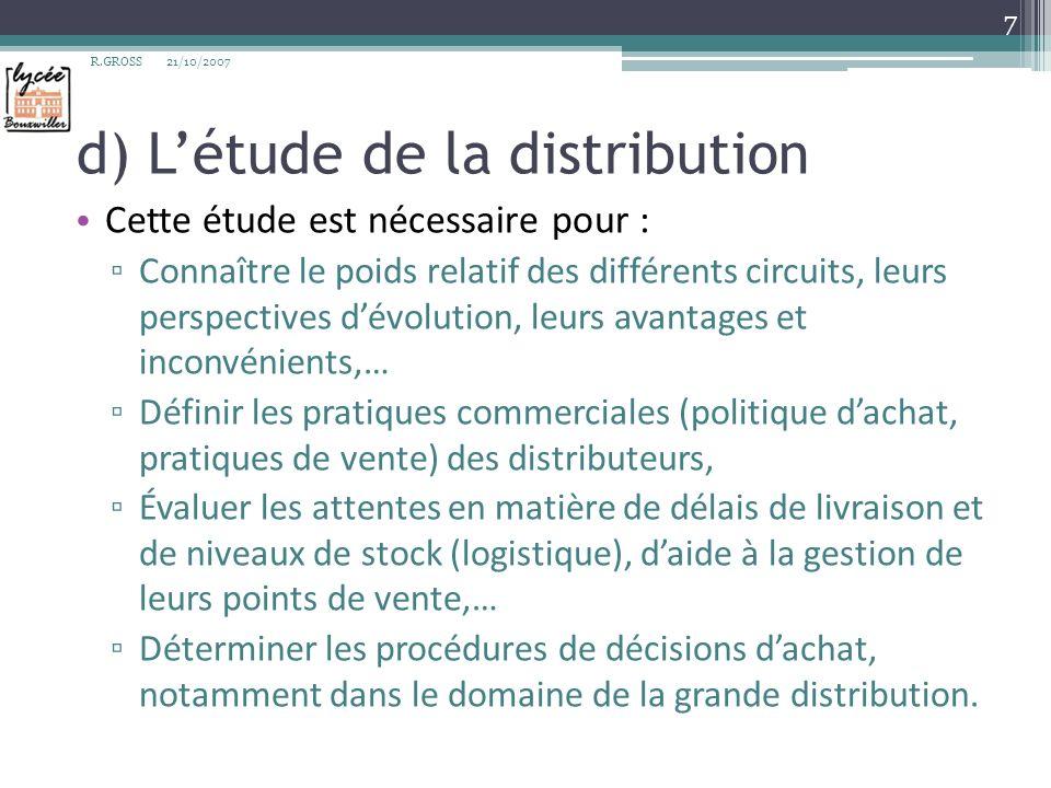 d) L'étude de la distribution