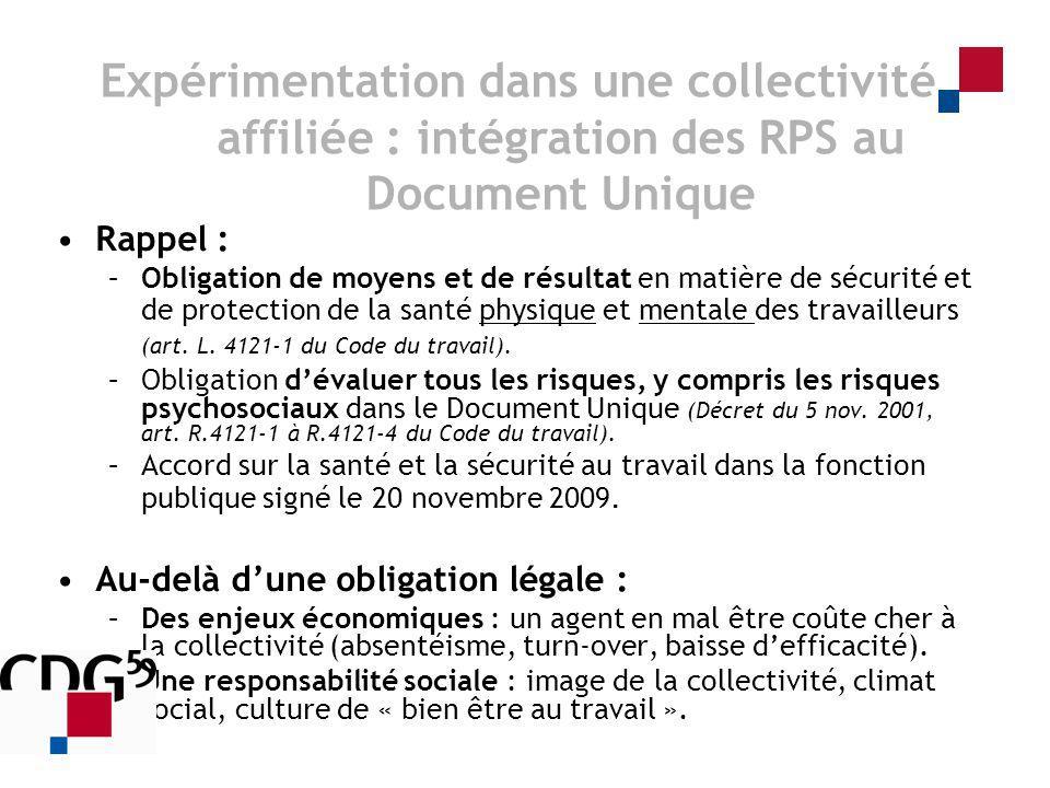 Expérimentation dans une collectivité affiliée : intégration des RPS au Document Unique