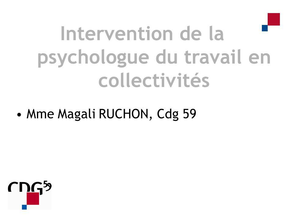 Intervention de la psychologue du travail en collectivités
