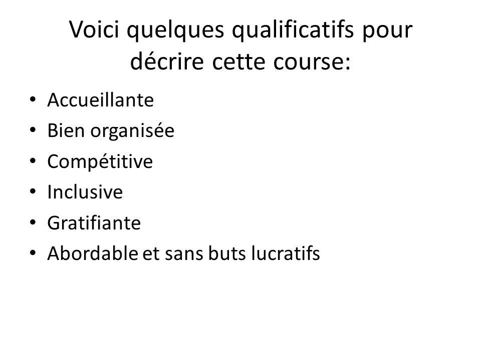 Voici quelques qualificatifs pour décrire cette course: