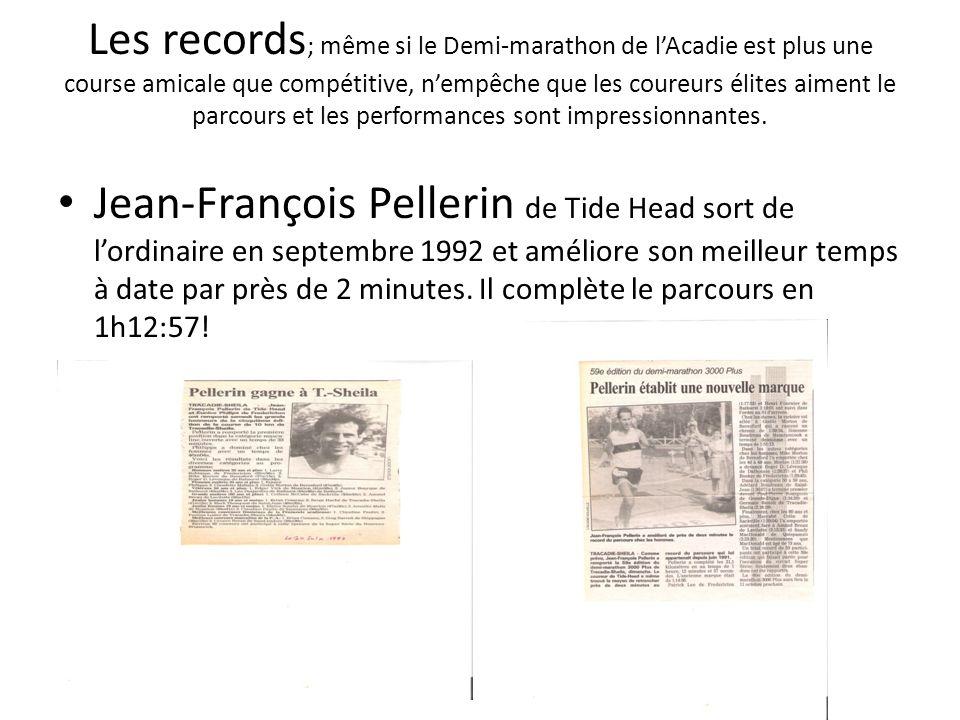 Les records; même si le Demi-marathon de l'Acadie est plus une course amicale que compétitive, n'empêche que les coureurs élites aiment le parcours et les performances sont impressionnantes.