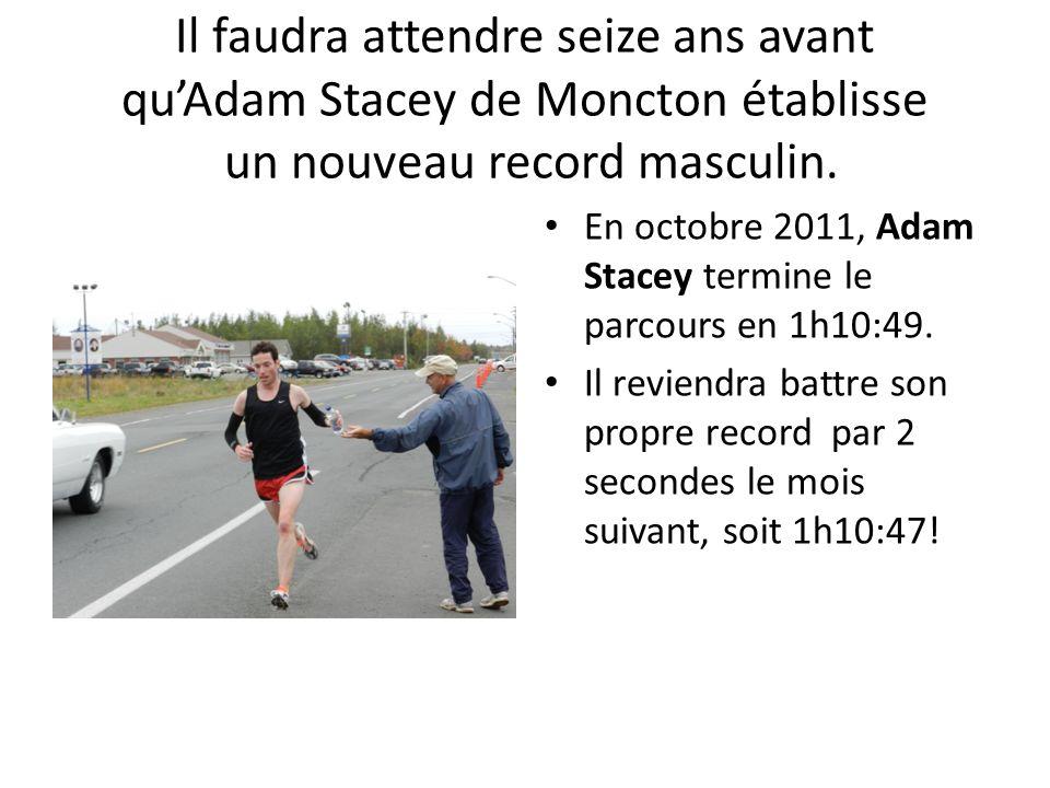 Il faudra attendre seize ans avant qu'Adam Stacey de Moncton établisse un nouveau record masculin.