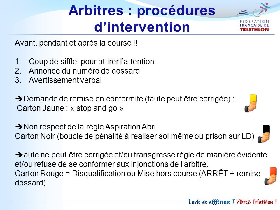 Arbitres : procédures d'intervention