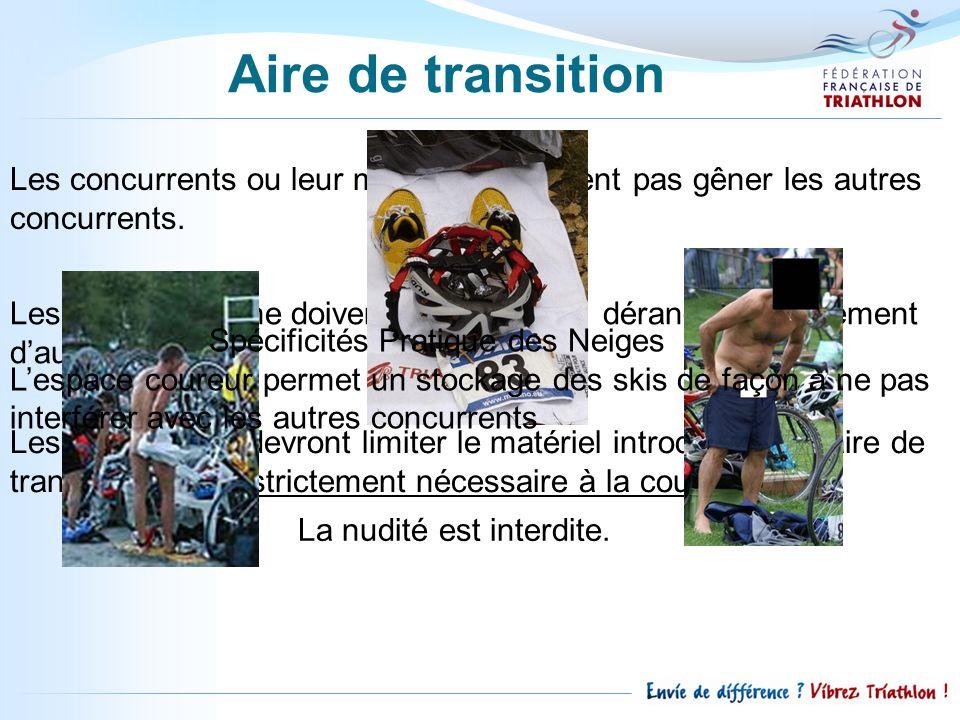Aire de transition Les concurrents ou leur matériel ne doivent pas gêner les autres concurrents.