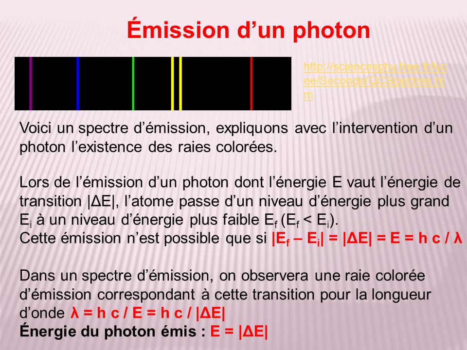 Émission d'un photon http://sciencesphy.free.fr/lycee/Seconde/QCSpectres.htm.