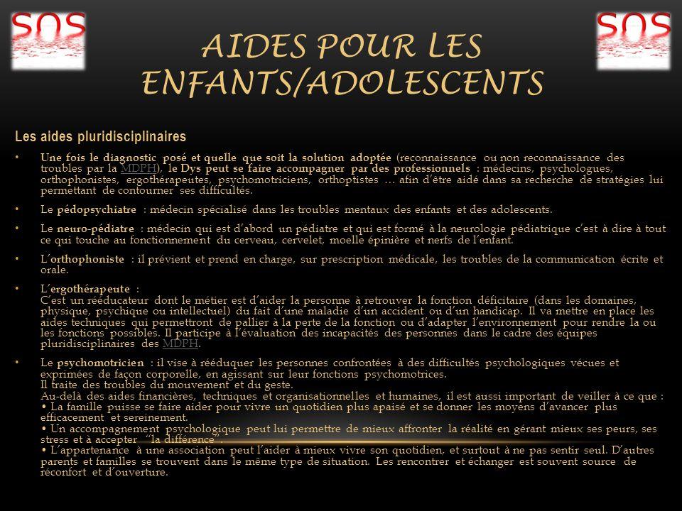 AIDES POUR LES ENFANTS/ADOLESCENTS