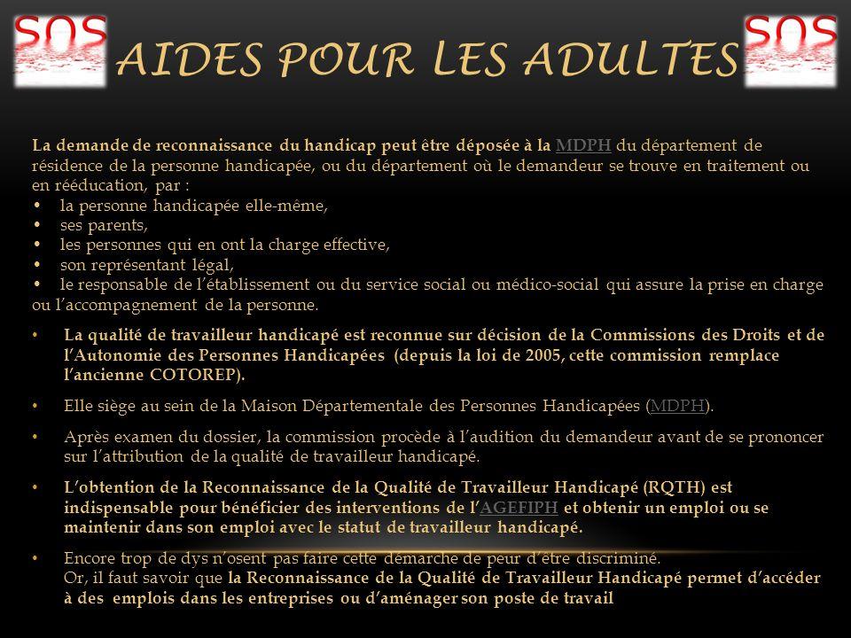 AIDES POUR LES ADULTES