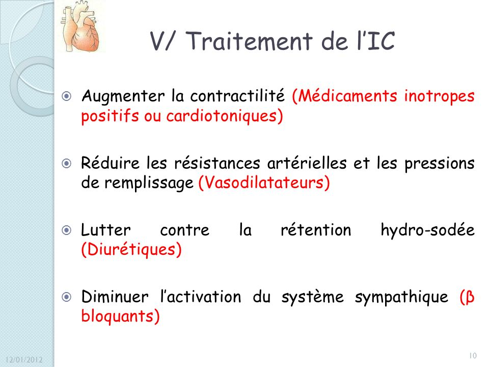 V/ Traitement de l'IC Augmenter la contractilité (Médicaments inotropes positifs ou cardiotoniques)