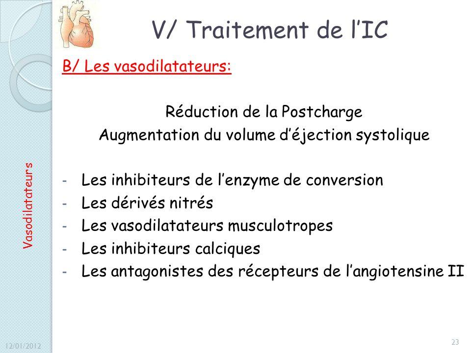 V/ Traitement de l'IC B/ Les vasodilatateurs: