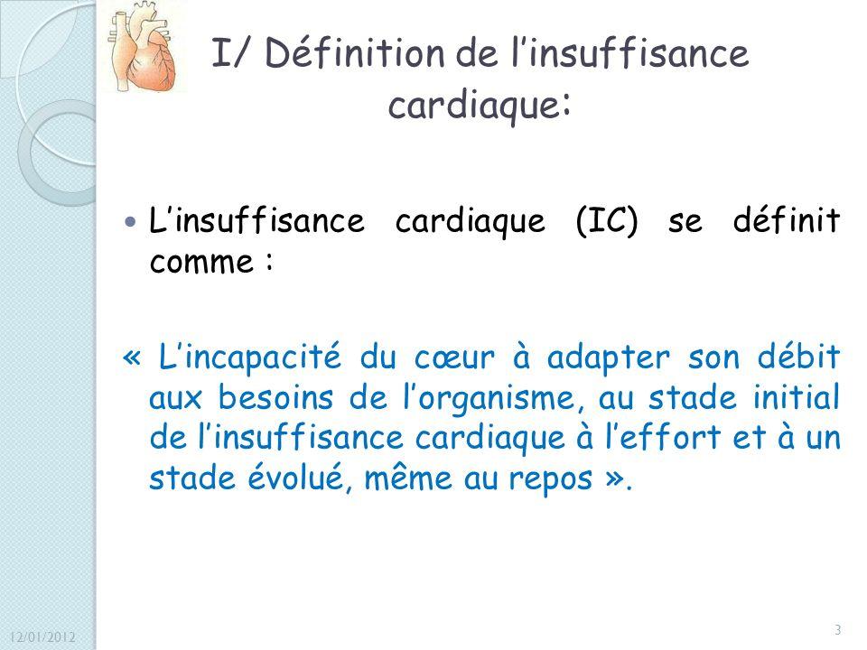 I/ Définition de l'insuffisance cardiaque: