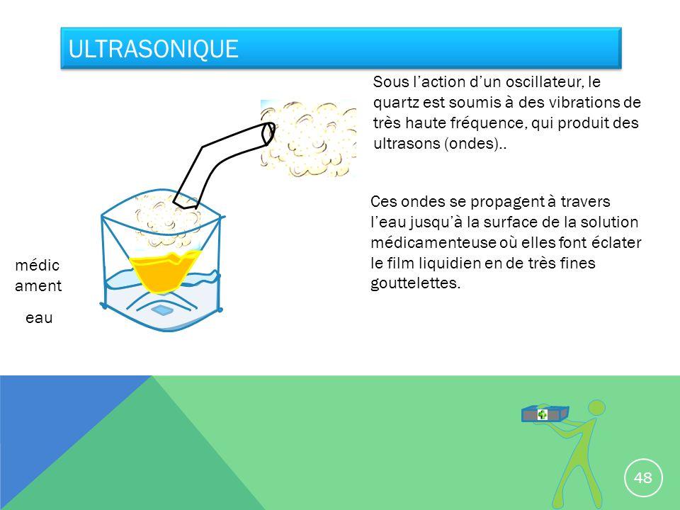 Ultrasonique Sous l'action d'un oscillateur, le quartz est soumis à des vibrations de très haute fréquence, qui produit des ultrasons (ondes)..
