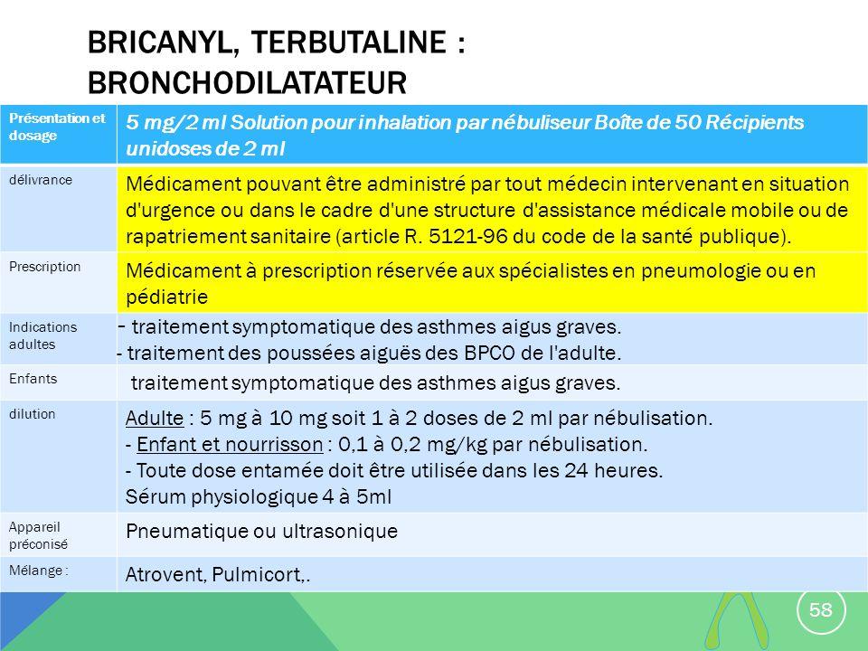 Bricanyl, terbutaline : Bronchodilatateur
