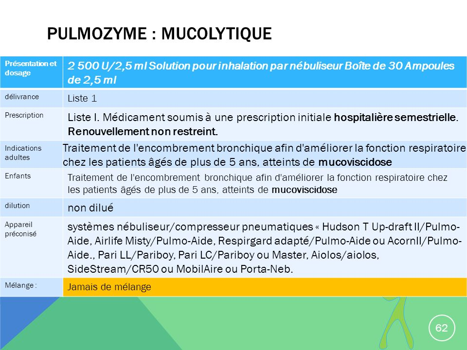 Pulmozyme : mucolytique