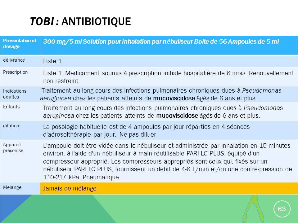 TOBI : antibiotique Présentation et dosage. 300 mg/5 ml Solution pour inhalation par nébuliseur Boîte de 56 Ampoules de 5 ml.