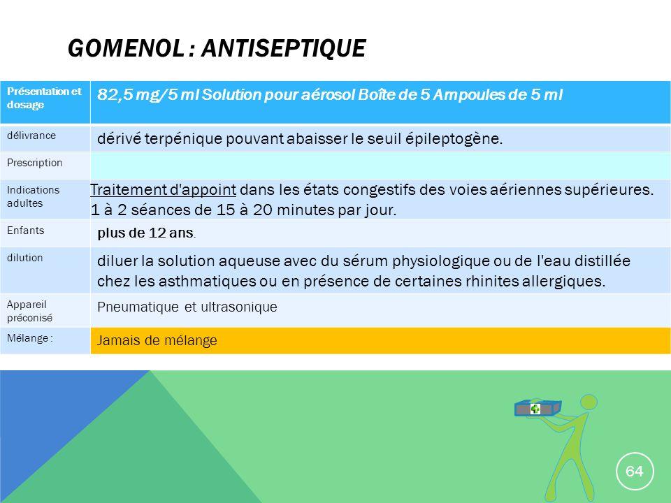 GOMENOL : antiseptique