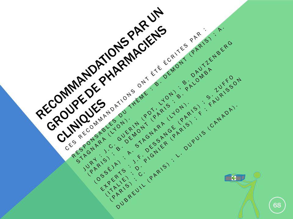 Recommandations par un groupe de pharmaciens cliniques