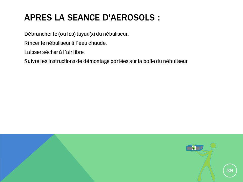 APRES LA SEANCE D AEROSOLS :
