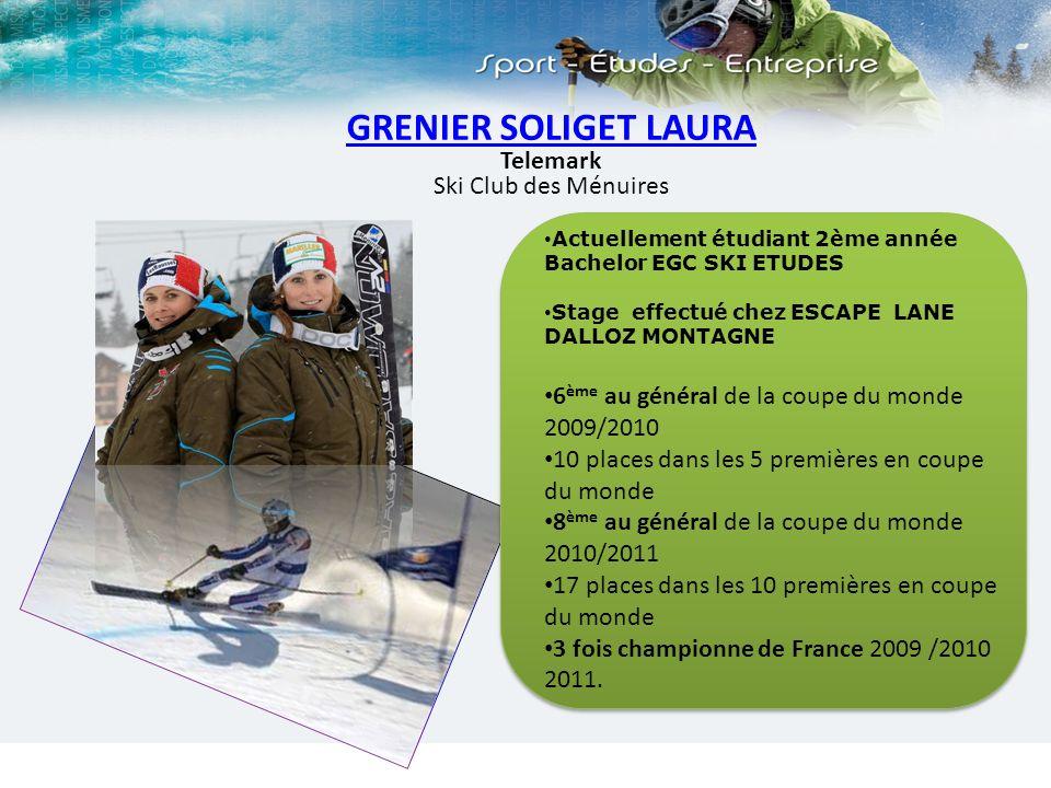 GRENIER SOLIGET LAURA Telemark Ski Club des Ménuires