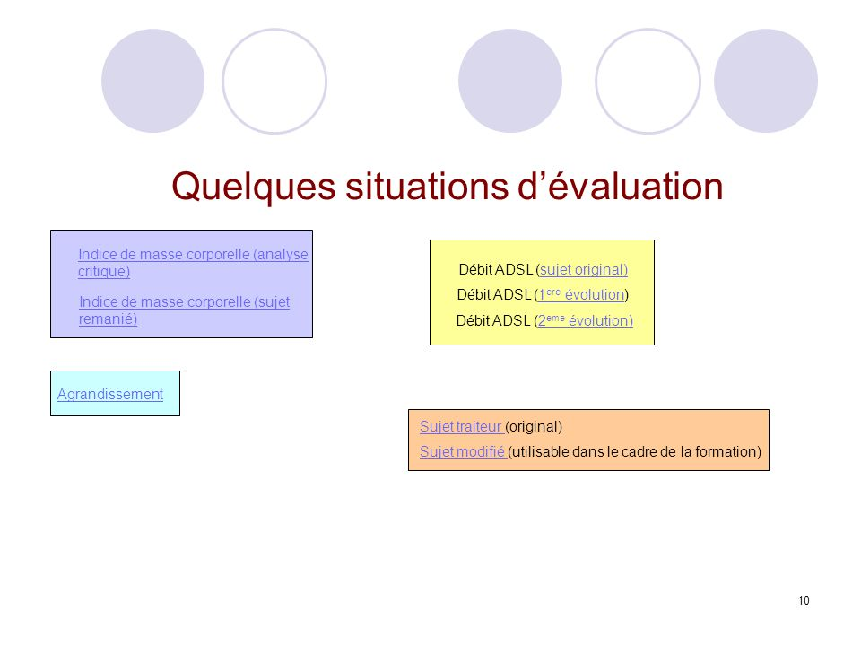 Quelques situations d'évaluation