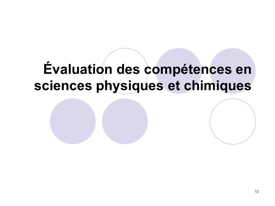 Évaluation des compétences en sciences physiques et chimiques