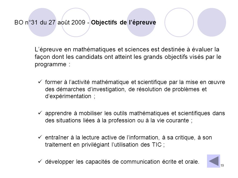 BO n°31 du 27 août 2009 - Objectifs de l'épreuve