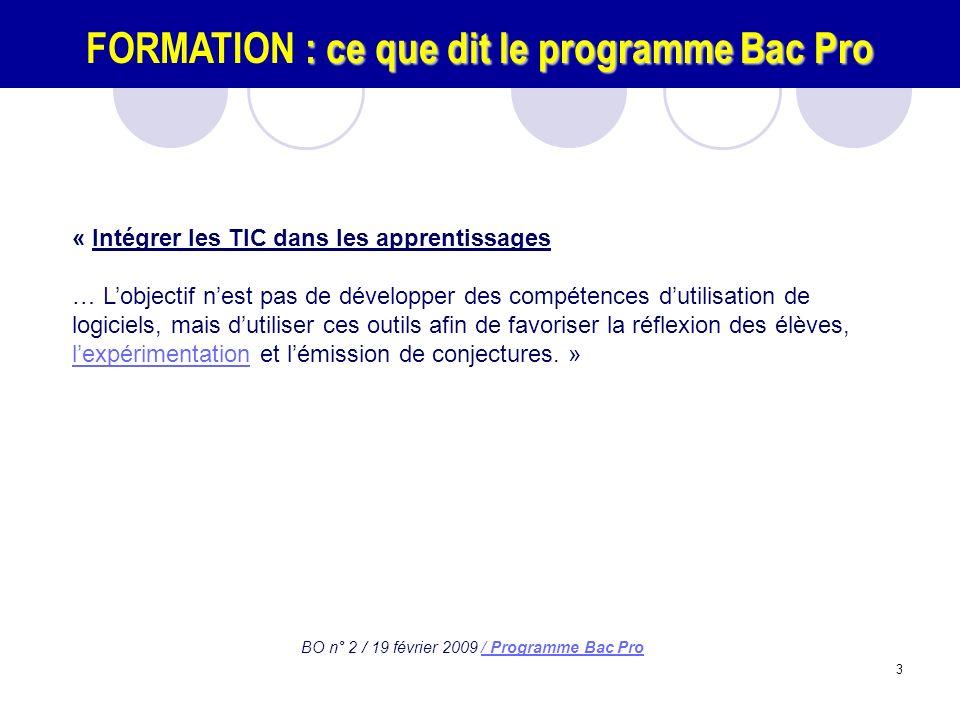 FORMATION : ce que dit le programme Bac Pro