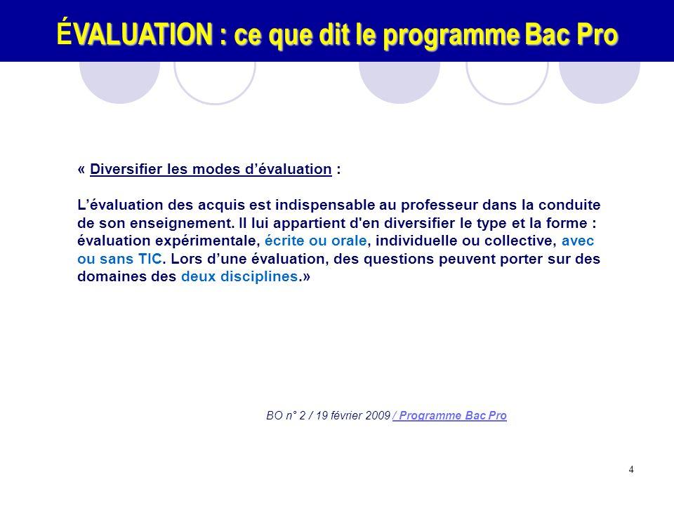 ÉVALUATION : ce que dit le programme Bac Pro