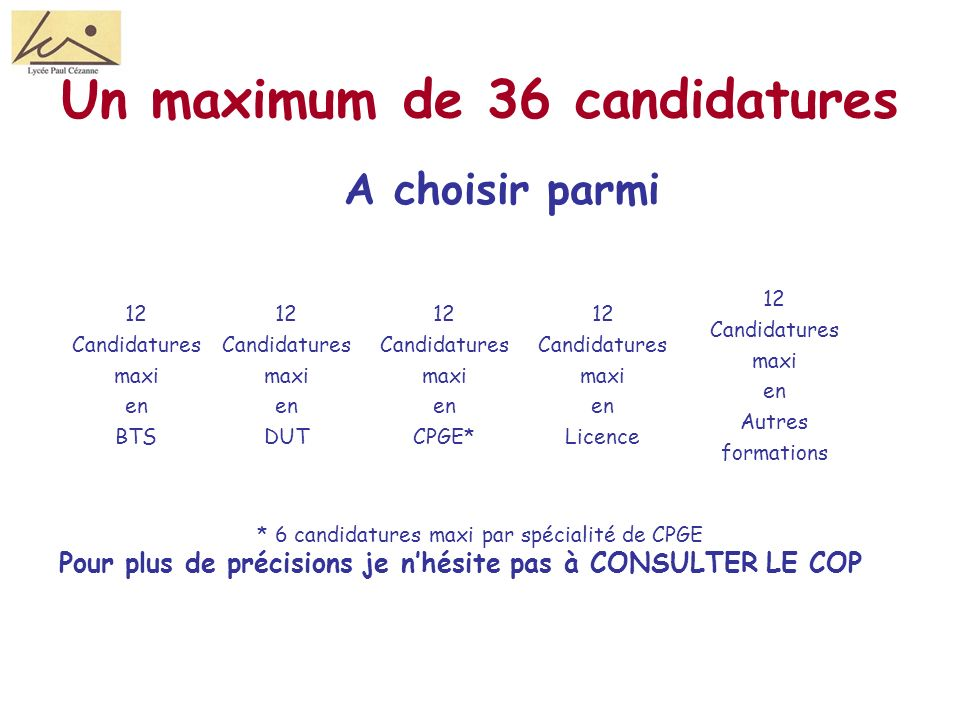 Un maximum de 36 candidatures